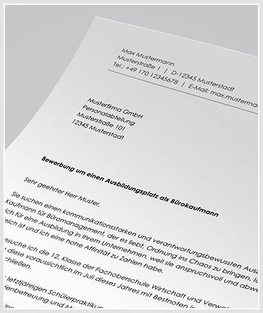 Anschreiben Ausbildung Bürokaufmann / Bürokauffrau