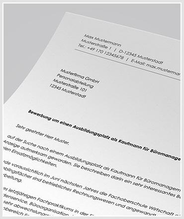 Anschreiben Ausbildung als Kaufmann / Kaufmann für Büromanagement