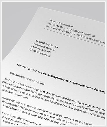 Anschreiben Ausbildung zahnmedizinische Fachangestellte / Zahnarzthelferin