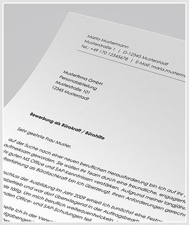 Bewerbung als Bürokraft / Bürohilfe